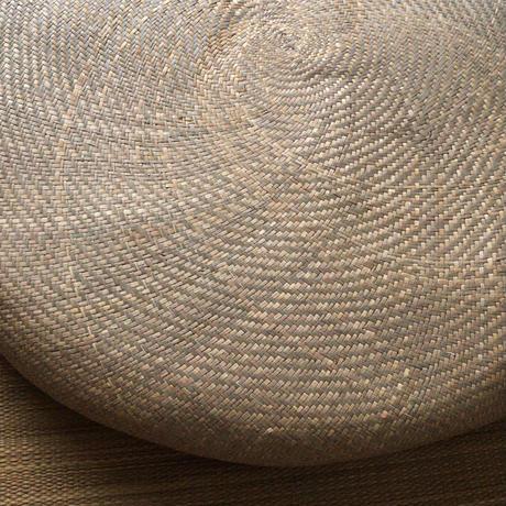 パナマ座布団 台湾製 本パナマ円形座布団 昭和中期  民藝 素朴な民具 丸座布団 4枚セット