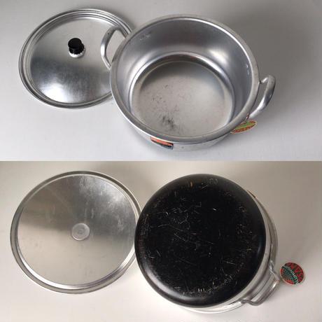 ALUMINUM OSAKA 地球印  アルミ 両手鍋  希少品  底部  ブラック塗装 持ち手長め タグ付 中古美品