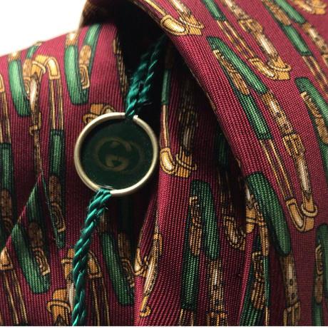 GUCCI オールドグッチ ヴィンテージ ネクタイ タグ付きデッドストックベルト総柄  ボルドー シルク100% 未使用品