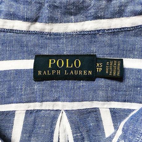 POLO RALPH LAUREN ポロ ラルフローレン 2020年製 クロップドリネンシャツ 青/白 ストライプ ドロップショルダー size XS  USED美品