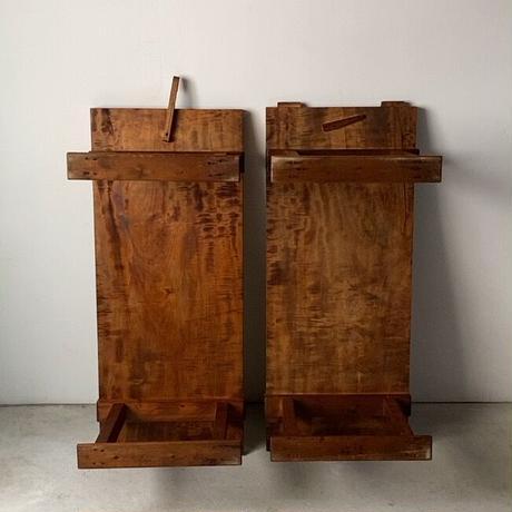 古い繋ぎの裁縫机  カリン天板の美木目 裁ち台 文机 ジョイント式長いローテーブル 昭和のハイテクデスクです。※2台1組です。