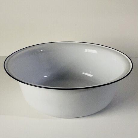KIYOSU enameled ware キヨス ホーロー 洗面桶 36cm 大きめの洗面器 白/紺 ヴィンテージ デッドストック品 made in japan