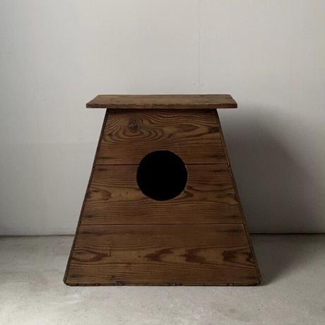 昭和期 木製踏台 丸穴屑入れ 杉無垢材 アンティークステップ 花台 スツール 良品  メンテナンス済