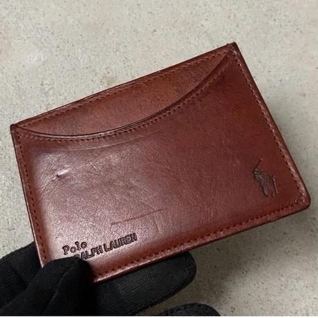 POLO RALPH LAUREN ポロ ラルフローレン レザーパスケース カードケース 名刺入れ ブラウン USED