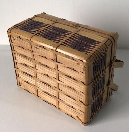 アンティーク竹籠  ランチボックス  ピクニック バスケットケース 古道具 工芸品 民藝
