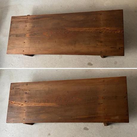 A. 杉一枚板天板 無垢材 木製飾り台 古い調理台 古材木工品 旧家蔵出し品 蟻形包みほぞ継脚