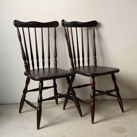 ヴィンテージ コムバック ボールレッグ ウィンザー ダイニングチェア 2脚セット 民藝家具 イギリスダイニング椅子  木製無垢材/合皮 ダークブラウン