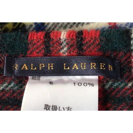 RALPH LAUREN  ラルフローレン   ウール100%  大判ストール  ひざ掛け 膝掛け  肩掛け マフラー  タータンチェック 赤/白  好配色  POLO ポロ  中古良品