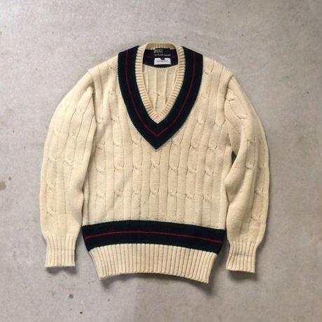 Polo by Ralph Lauren ポロ ラルフローレン 80sヴィンテージ  ケーブル編み Vネック チルデンセーター  size S   ウール100%  好配色