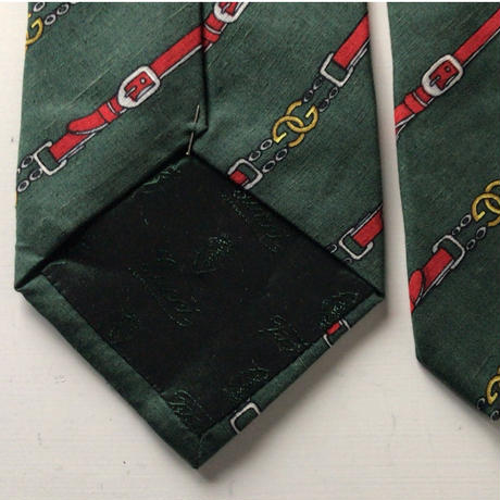 GUCCI  オールドグッチ  ヴィンテージ ネクタイ 筆記体ロゴ シルク100%  グリーンベース GGチェーンベルト柄 レジメン 中古美品