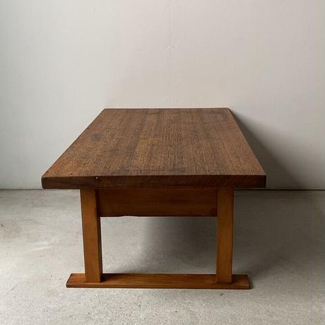 昭和期 ナチュラル色の小さな文机. 1杯引出し ラワン一枚天板  木製ヴィンテージローテーブル  座卓  メンテナンス済