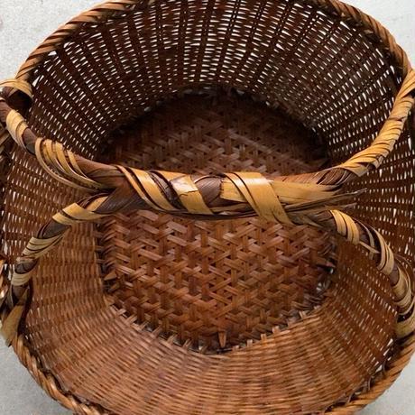 古い 果物籠 4点留ワンハンドル フルーツバスケット 古民藝 竹編籠 竹工芸 編みかご ヴィンテージフォーククラフト