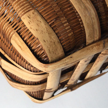 双耳  竹籠 アンティーク花かご 両持ち手 編みカゴ  手仕事 ダストボックス ・スリッパ入れ・花器   アメリカ仕入   USA