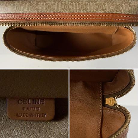 CELINE オールドセリーヌ ヴァニティバッグ 幅約21cm マカダム ベージュ/ブラウン レアカラー バニティ 化粧ポーチ
