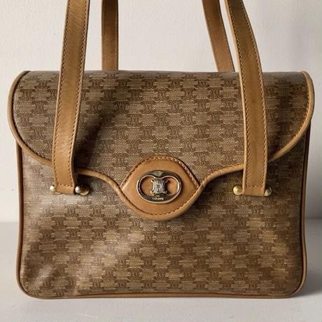 CELINE オールドセリーヌ マカダム ハンドバッグ 幅約22cm ヴィンテージハンドバッグ 鞄