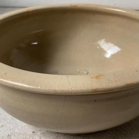 古いこね鉢 30cm 灰釉 歪な大鉢 メダカ鉢 水栽培 ビオトープ 民藝 焼物 ジャンク訳有
