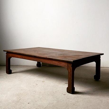欅一枚天板の大きめ古い座卓  宿坊の木製看板を用いた座卓  看板は江戸期 木工も当時の希少品  幅約106cmのアンティークローテーブル 欅無垢材 美木目 反り防止加工 高級古材