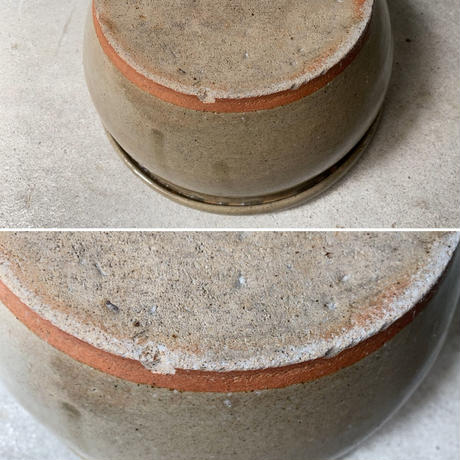 古いこね鉢(濃緑) 幅約26cm 灰釉 荒い目跡 昭和初期 小ぶり メダカ鉢 水栽培 ビオトープ