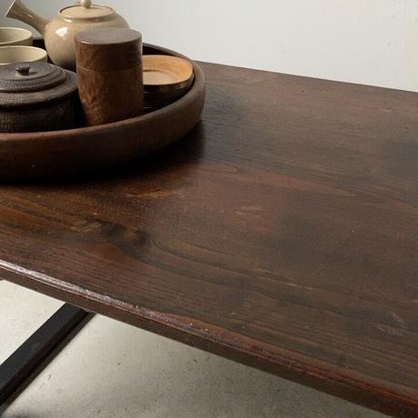 古い二月堂 食堂机  黒漆じゃない木目天板 珍品 希少  座卓 バネ板式折畳みローテーブル ヴィンテージ 古ネジ 良品