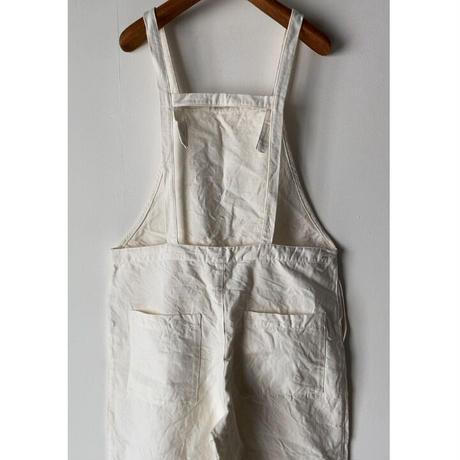 Gauze ガーゼ  コットンリネンサロペットパンツ ホワイト オーバーオール 農夫パンツ 中古美品