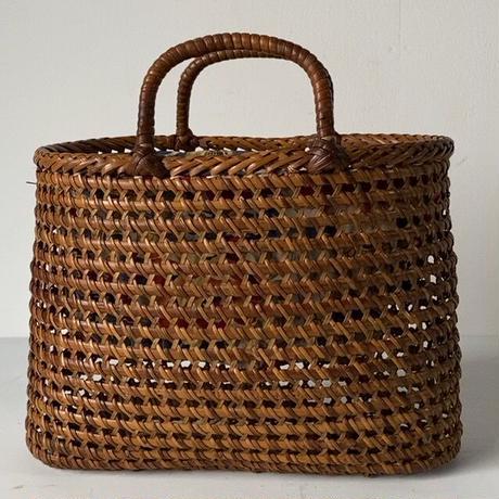 古い籐巻きの煎茶籠 小さめサイズ 24cm  更紗あり  ヴィンテージカゴバッグ 完品