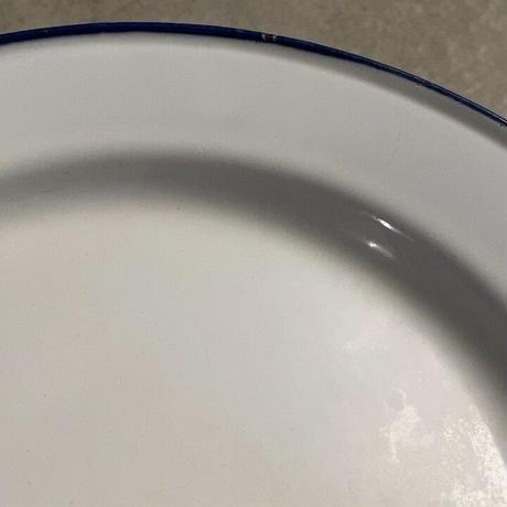 SKER SWEDEN スエーデン製 ヴィンテージ ホーロー皿 24cm 2枚セット 琺瑯 白/紺 ネイビー