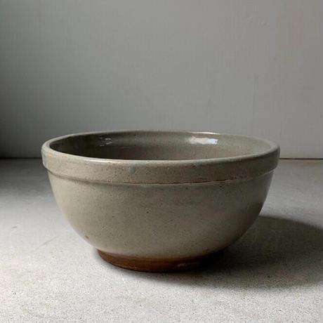 古いこね鉢(ストーンウェアA) 幅約26cm シンプル大鉢 巨大ボウル 荒い目跡 小ぶり メダカ鉢 水栽培 ビオトープ  完品