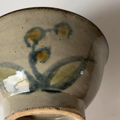 琉球 やちむん 4.5寸マカイ 古作  登窯 花草模様 昭和期 ヴィンテージ フォークアート 完品