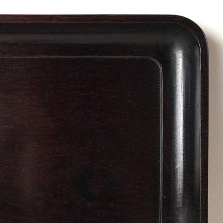唐木 紫檀 角盆(長方盆) くり抜き四方盆 高級材のお盆 スクエアトレー 黒茶 微量のクラック有