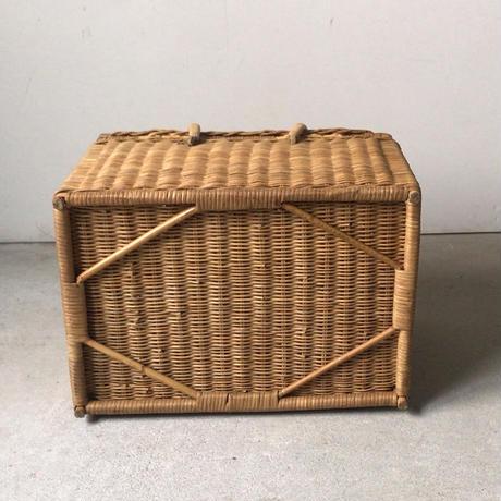 ヴィンテージ ピクニック バスケット パン型 スクエア ラタン ランチボックス 大きめ  完品