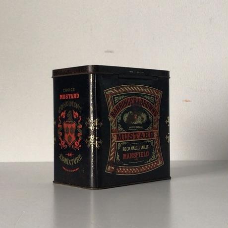 イギリス製 アンティーク  マスタードのカンカン 蓋フラップ  ヴィンテージ 食品缶 古道具 古いカンカン 小物入れ made in England