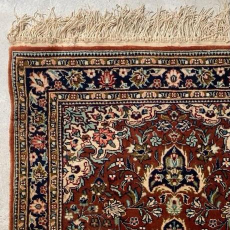 ペルシャ絨毯 玄関マット ブラウン/ネイビー 93×63cm ポシティー ヴィンテージラグ オールドマット