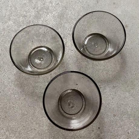ヴィンテージ ガラス器 昭和初期 グレーベース ゆらゆら 気泡 硝子 デザート器 かき氷器 小鉢 古い器 モダンデザイン 完品  3点セット4500円