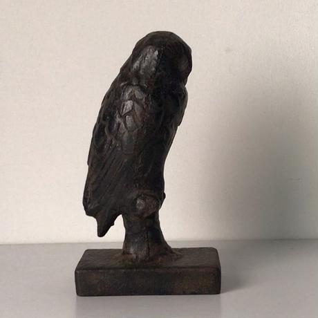 古いフクロウの像    鉄製    置物   アイアンオブジェ ヴィンテージ動物ブロンズ像