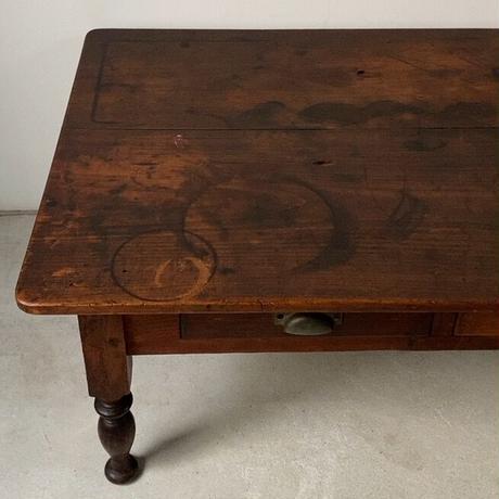 昭和期 ボールレッグ 大きめ濃茶の文机  2杯引出し 木製無垢二枚天板  厚手アルミ引手金具  ヴィンテージローテーブル 座卓  メンテナンス済