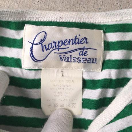 Charpentier de Vaisseau(シャルパンティエ・ドゥ・ヴェッソ)ラグランスリーブ  長袖カットソー.  グリーン/ホワイト  made in  japan
