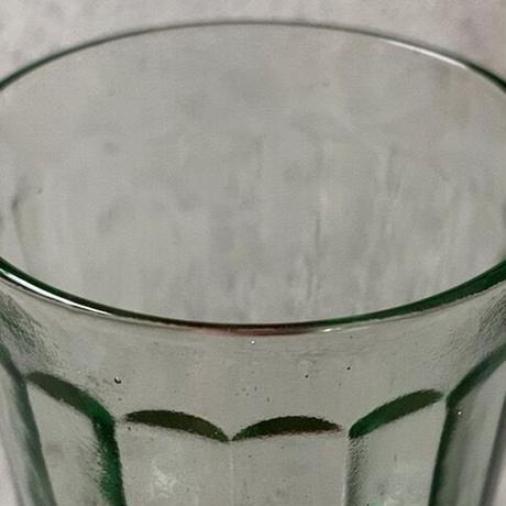 アンカーグラス SGF 島田硝子製造所 刻印有 アンティークグラス 高さ10cm  ゆらゆらガラス 気泡硝子 グリーン  完品