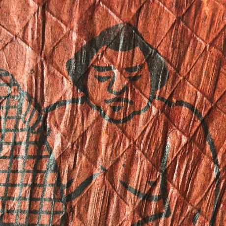 お相撲さん柄 古い団扇  戦前 竹のうちわ  力士 大力  柿渋染め和紙  アンティーク団扇