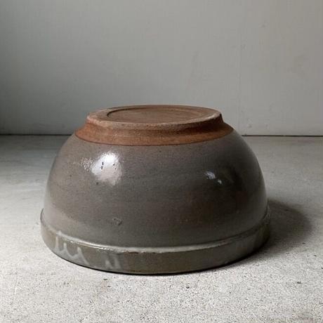 古いこね鉢(ストーンウェアB) 幅約26cm シンプル大鉢 巨大ボウル 荒い目跡 小ぶり メダカ鉢 水栽培 ビオトープ