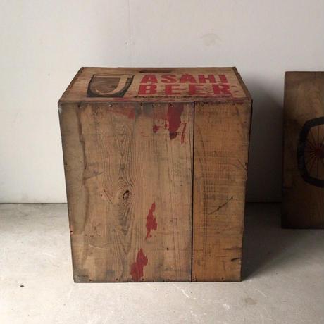 ASAHI BEER アサヒビール  アンティーク木箱 S48和紙付  蓋付き  ヴィンテージビアボックス  美品