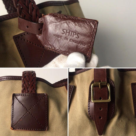 SHIPS シップス  イングランド製  ラージトートバッグ コットン/レザー  コンビ素材  イギリス UK ベージュ/ブラウン 編みハンドル  スタンダードデザイン made in England