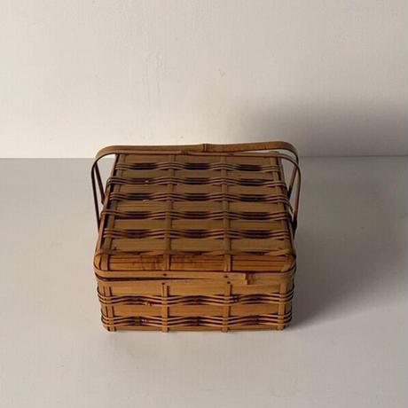 アンティーク 竹籠 蓋付 持ち手付 角物細工 竹細工 ピクニックバスケット 道具入れ