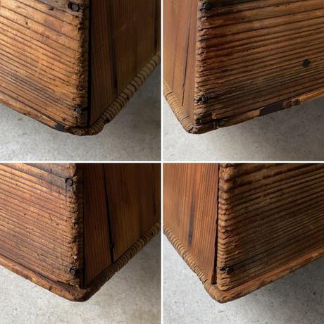 昭和期 2段木製踏台 半円穴屑入れ 杉無垢材 アンティークステップ 花台 スツール 良品 メンテナンス済