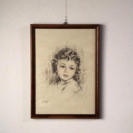 少女人物画 パステル・水彩 額 木製無垢材 デザイン・コンデイション良好