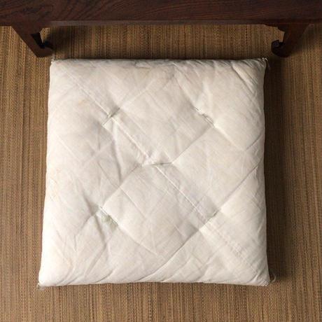 松坂屋 白いリネンの綿座布団  昭和中期 民具 麻製品 6枚セット