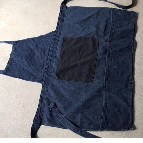 ヴィンテージ デニムのワークエプロン  ツイルのパッチポケット エイジング良好 60s 70s