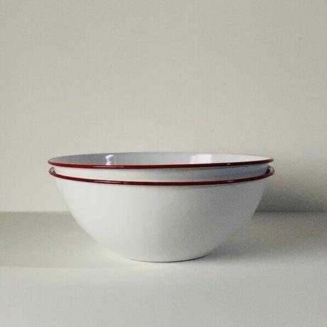 ヴィンテージ ホーローボウル  28cm 2個セット 白/赤 60s  デッドストック 主婦の店購入品