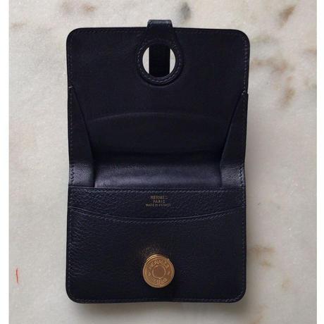 HERMES エルメス  ドゴンコンパクト  コインケース   トゴ   ブラック/ゴールド金具   □A刻印  中古