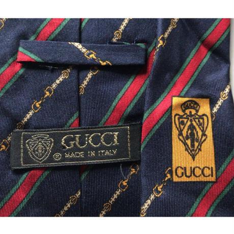 GUCCI  オールドグッチ  ヴィンテージ ネクタイ レジメンタル ビット柄 ネイビー ゴールド シェリーラインシルク100%  中古美品