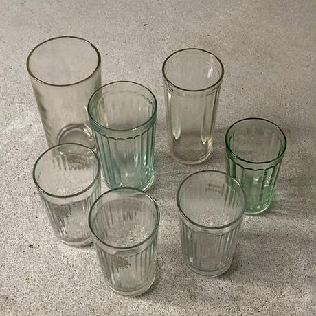 アンカーグラス  タンブラー  細身 3本ライン  刻印無し  高さ約13.5cm 珍品 希少  アンティークグラス  ゆらゆらガラス  気泡硝子 無色ややグレー  昭和初期  完品